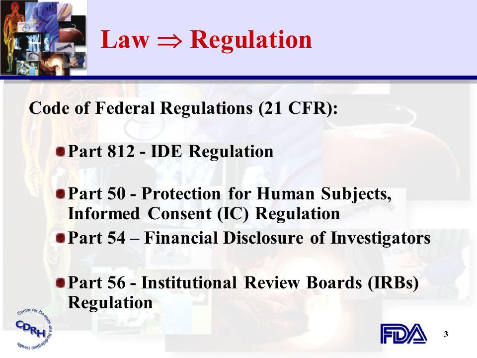 Law  Regulation Code of Federal Regulations (21 CFR):