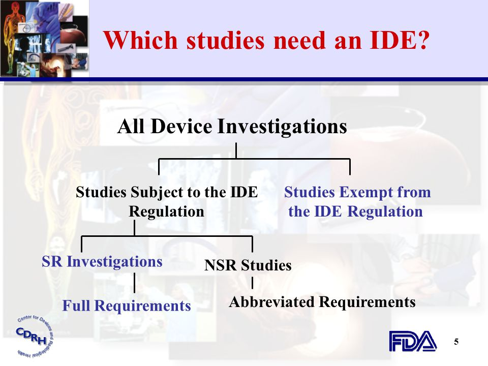 Which studies need an IDE