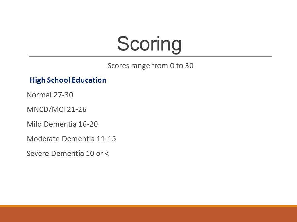 Scoring Scores range from 0 to 30 High School Education Normal 27-30