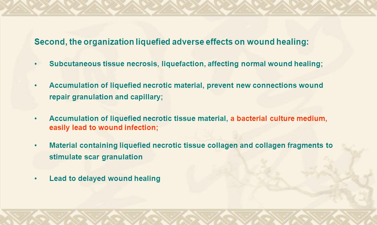 Second, the organization liquefied adverse effects on wound healing: