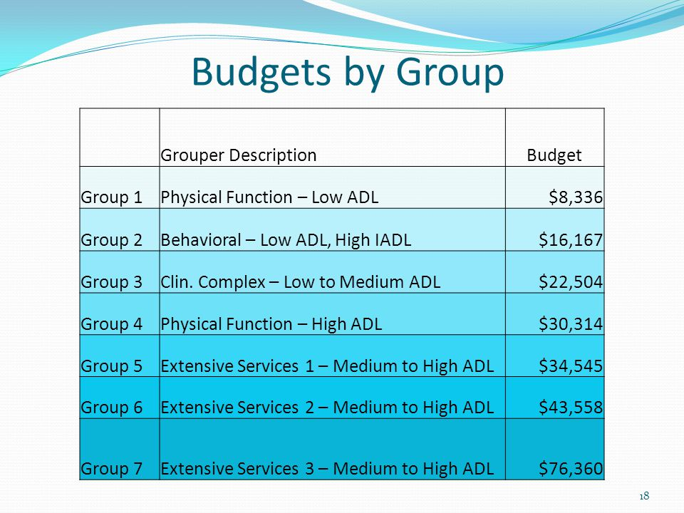 Budgets by Group Grouper Description Budget Group 1
