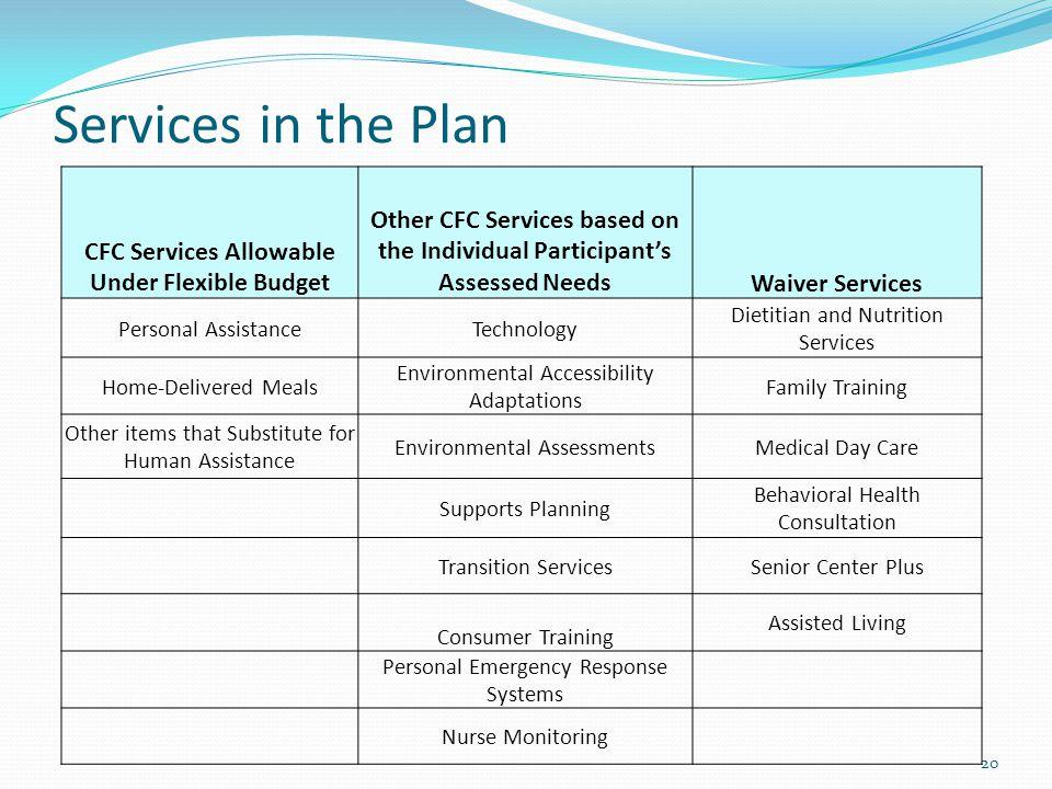 CFC Services Allowable Under Flexible Budget