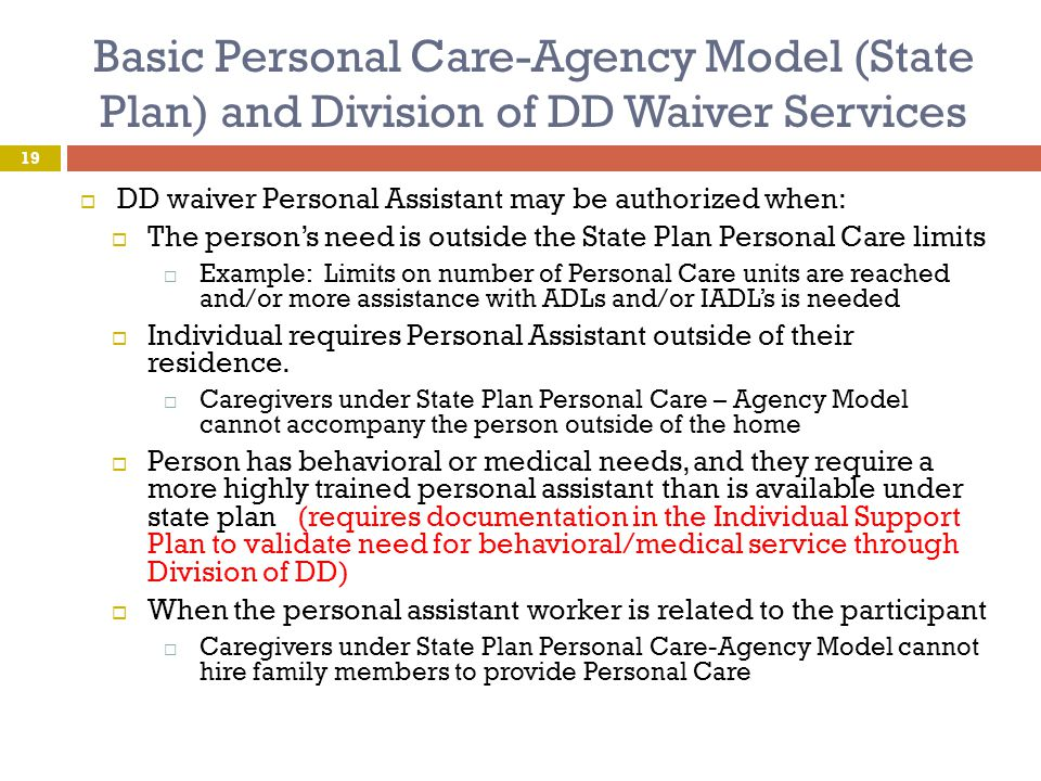 Basic Personal Care-Agency Model (State Plan) and Division of DD Waiver Services