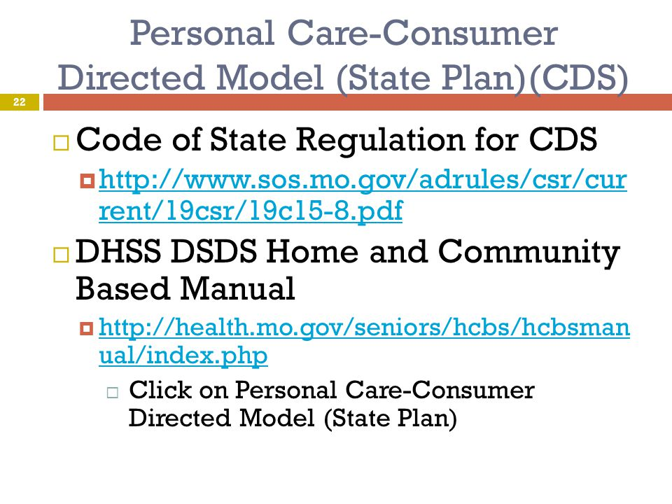Personal Care-Consumer Directed Model (State Plan)(CDS)
