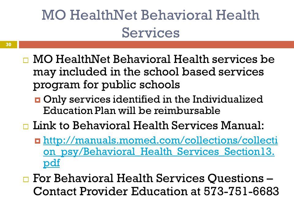 MO HealthNet Behavioral Health Services
