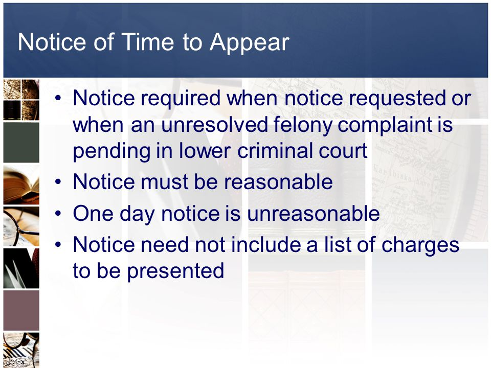 Notice of Time to Appear