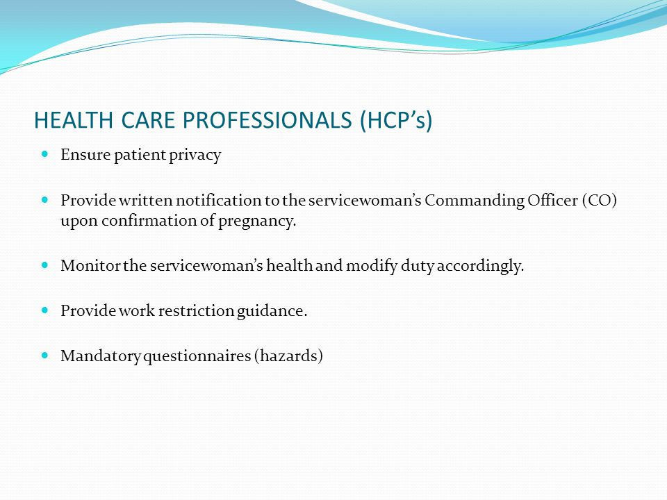 HEALTH CARE PROFESSIONALS (HCP's)