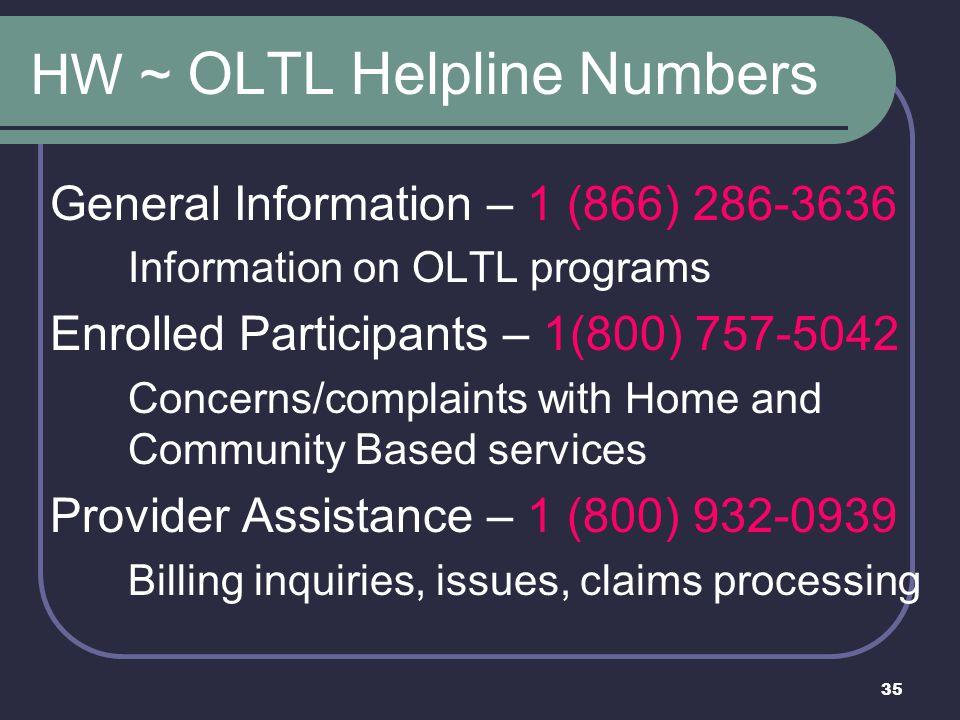 HW ~ OLTL Helpline Numbers