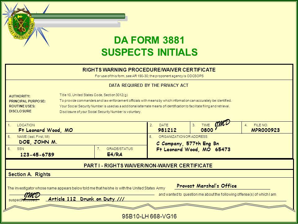 DA FORM 3881 SUSPECTS INITIALS