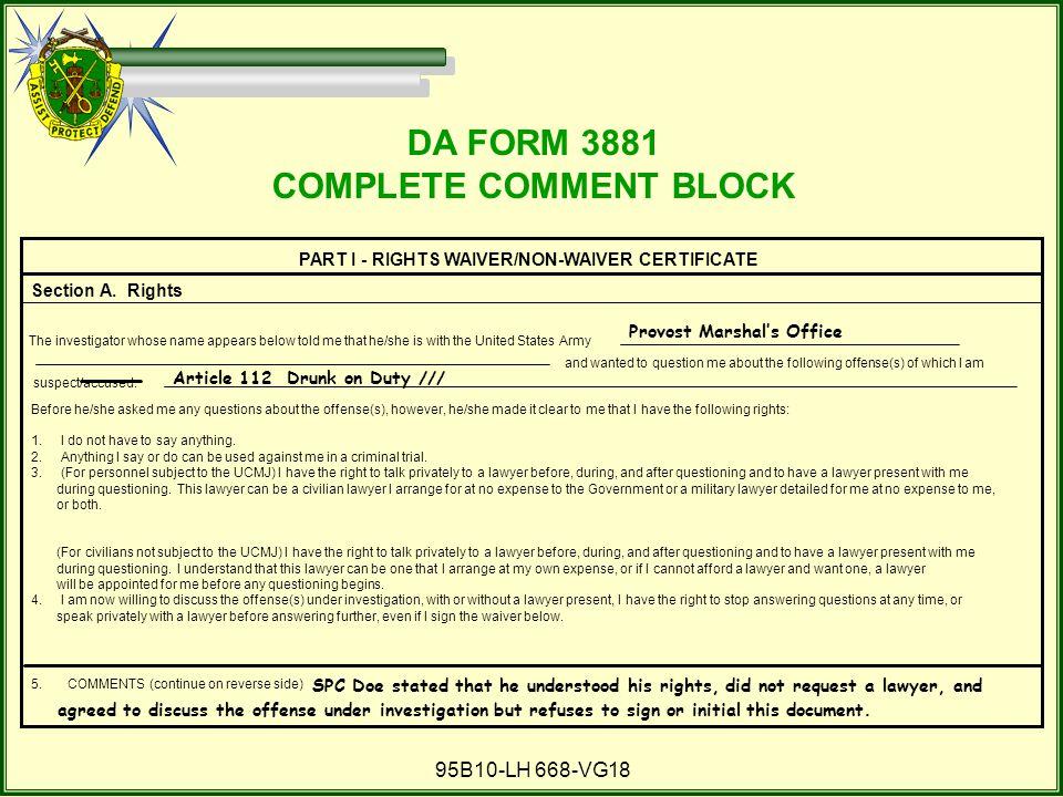 COMPLETE COMMENT BLOCK