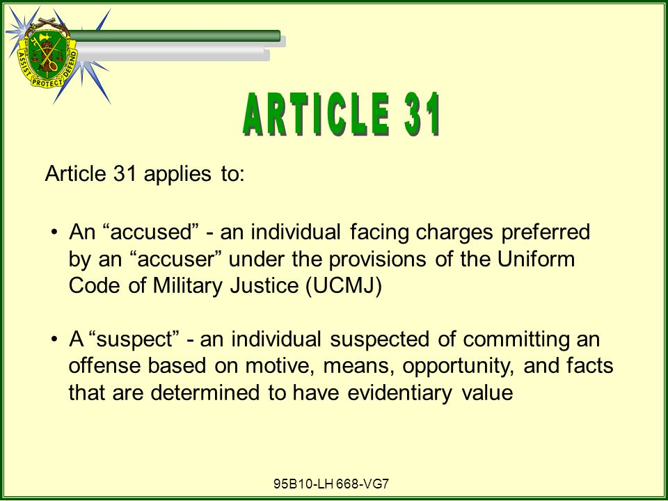 ARTICLE 31 Article 31 applies to: