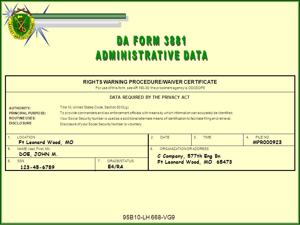 DA FORM 3881 ADMINISTRATIVE DATA