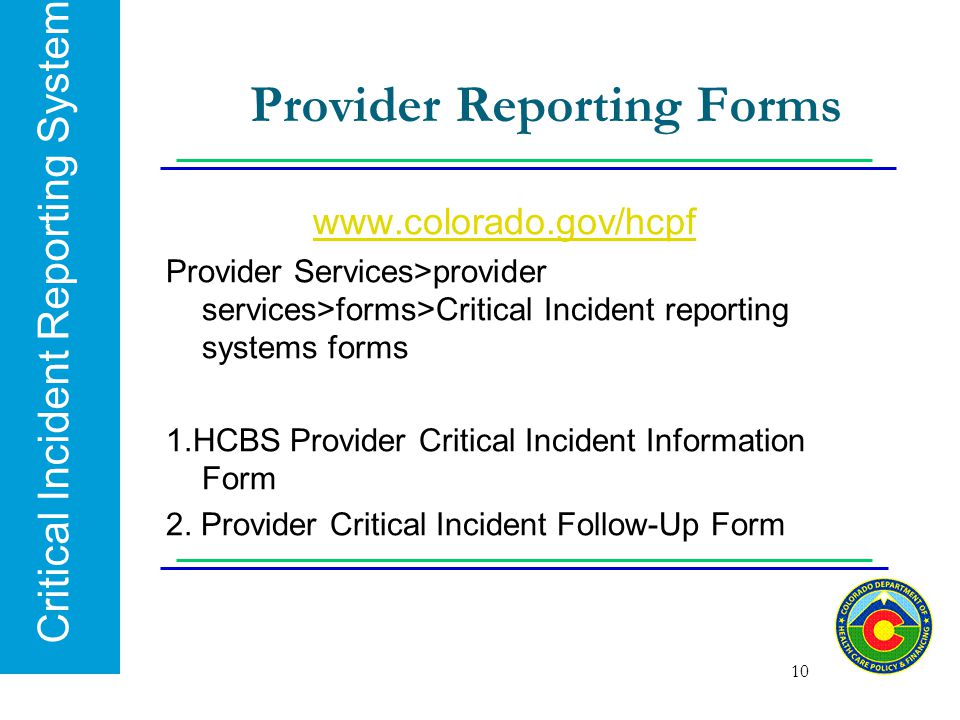 Provider Reporting Forms