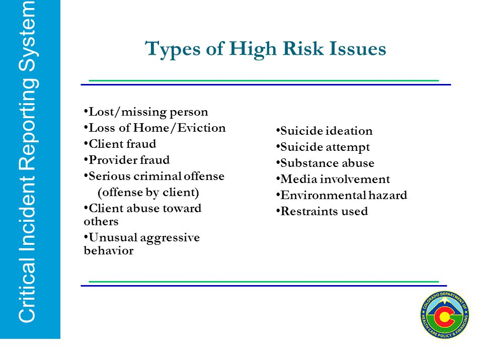 Types of High Risk Issues