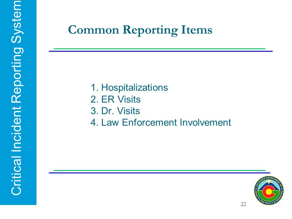 Common Reporting Items