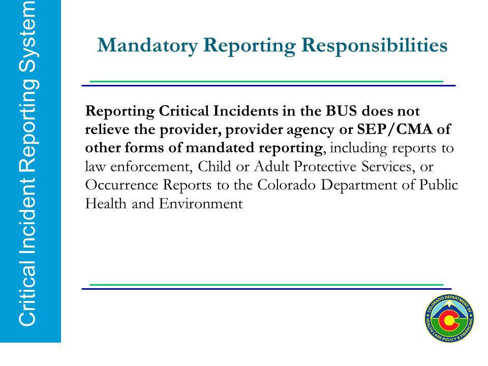 Mandatory Reporting Responsibilities