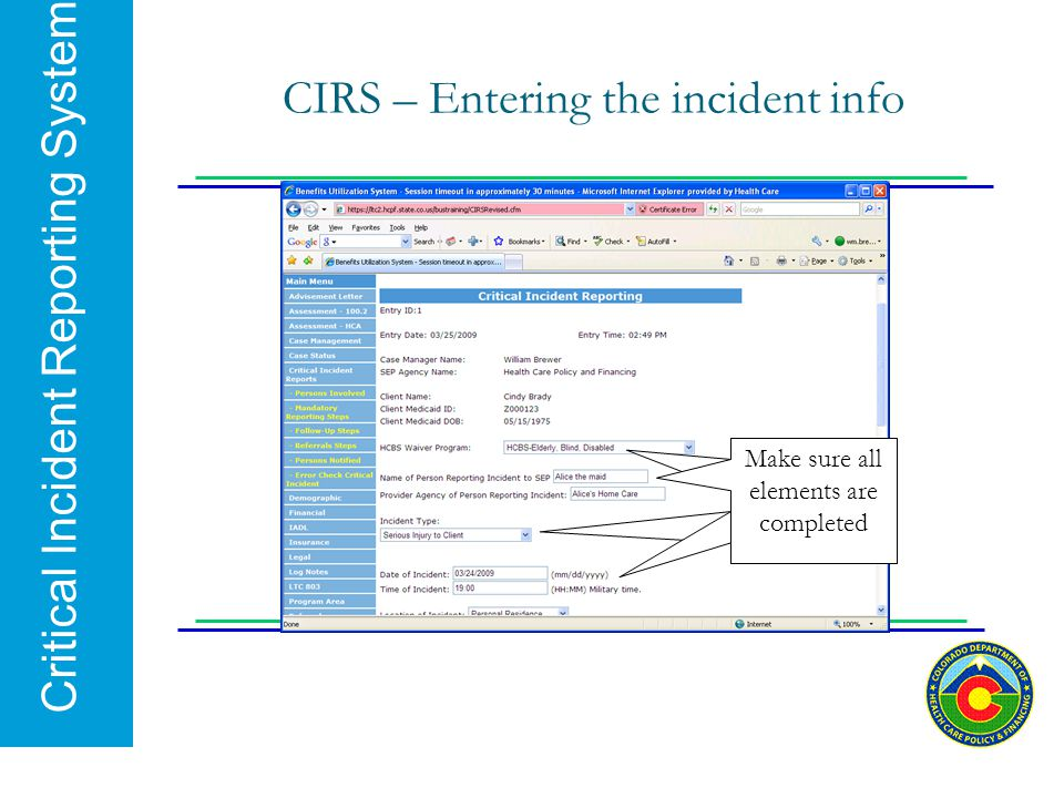 CIRS – Entering the incident info