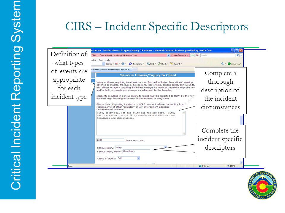 CIRS – Incident Specific Descriptors