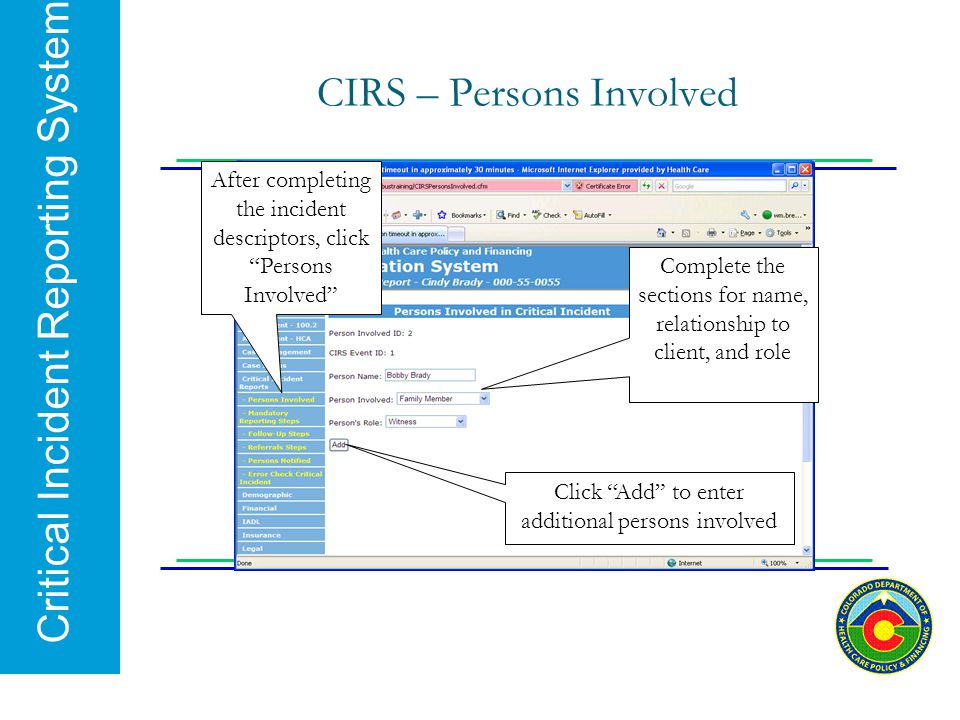 CIRS – Persons Involved