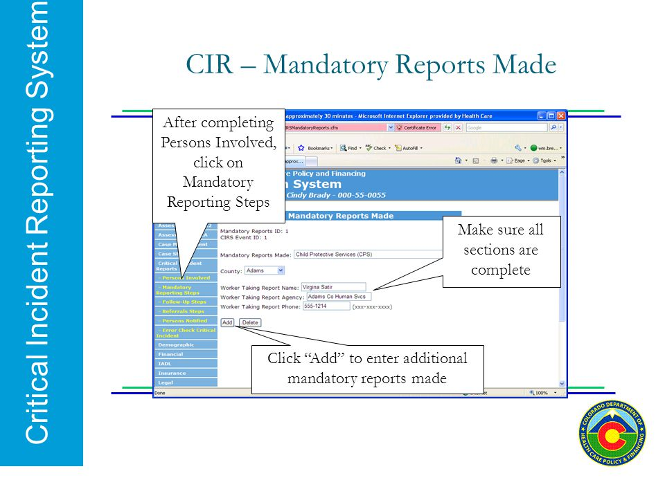 CIR – Mandatory Reports Made