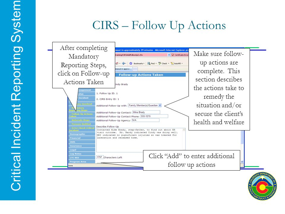 CIRS – Follow Up Actions