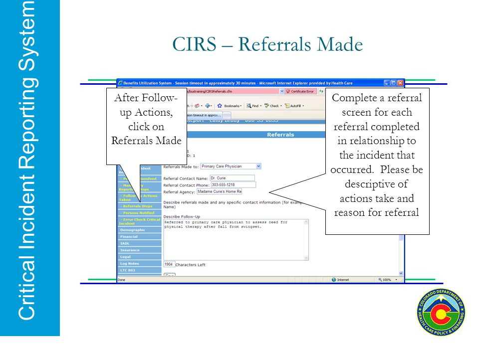 After Follow-up Actions, click on Referrals Made