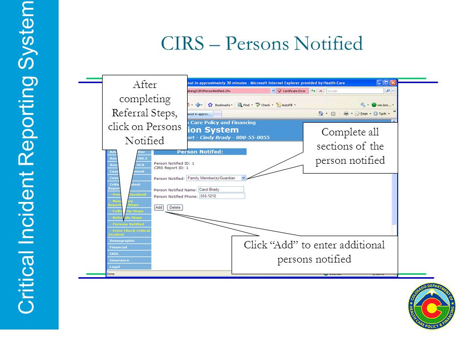 CIRS – Persons Notified