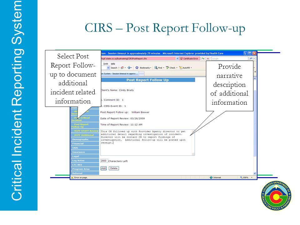 CIRS – Post Report Follow-up