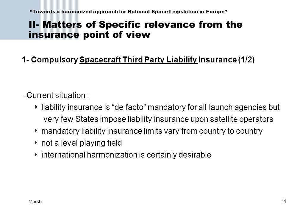 1- Compulsory Spacecraft Third Party Liability Insurance (1/2)