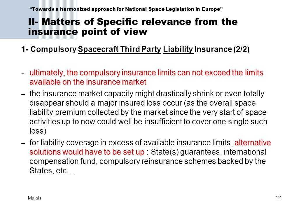 1- Compulsory Spacecraft Third Party Liability Insurance (2/2)