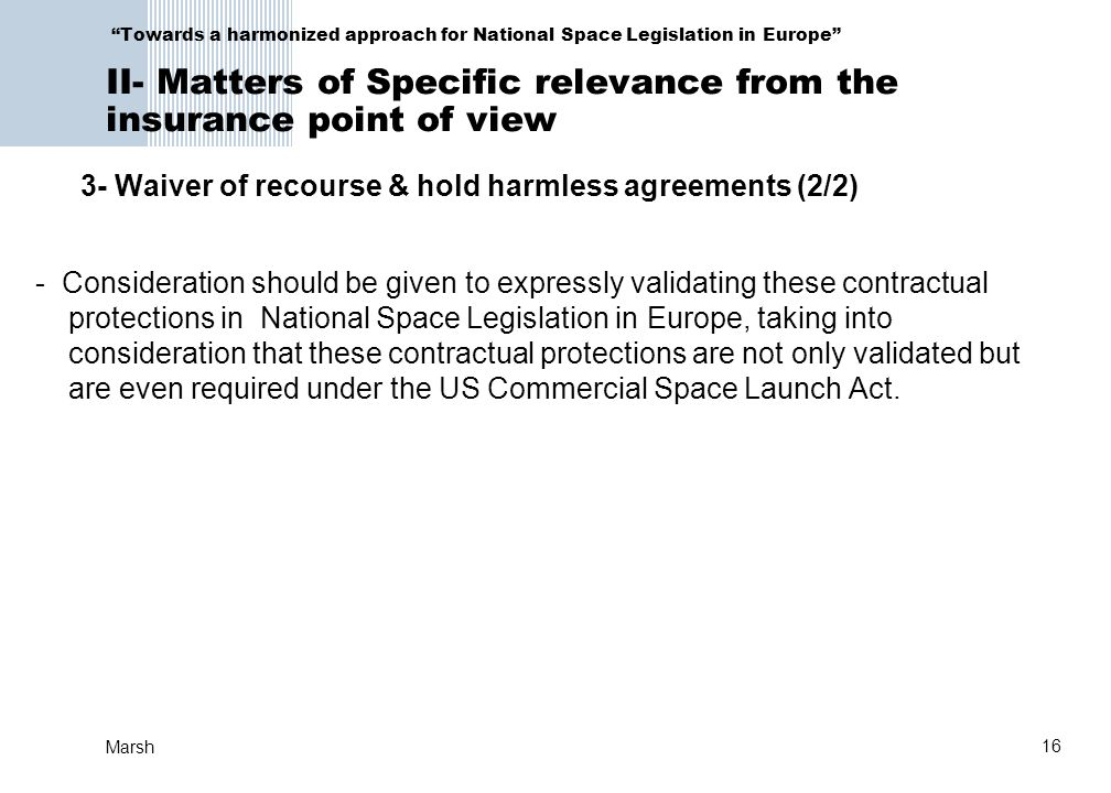 3- Waiver of recourse & hold harmless agreements (2/2)