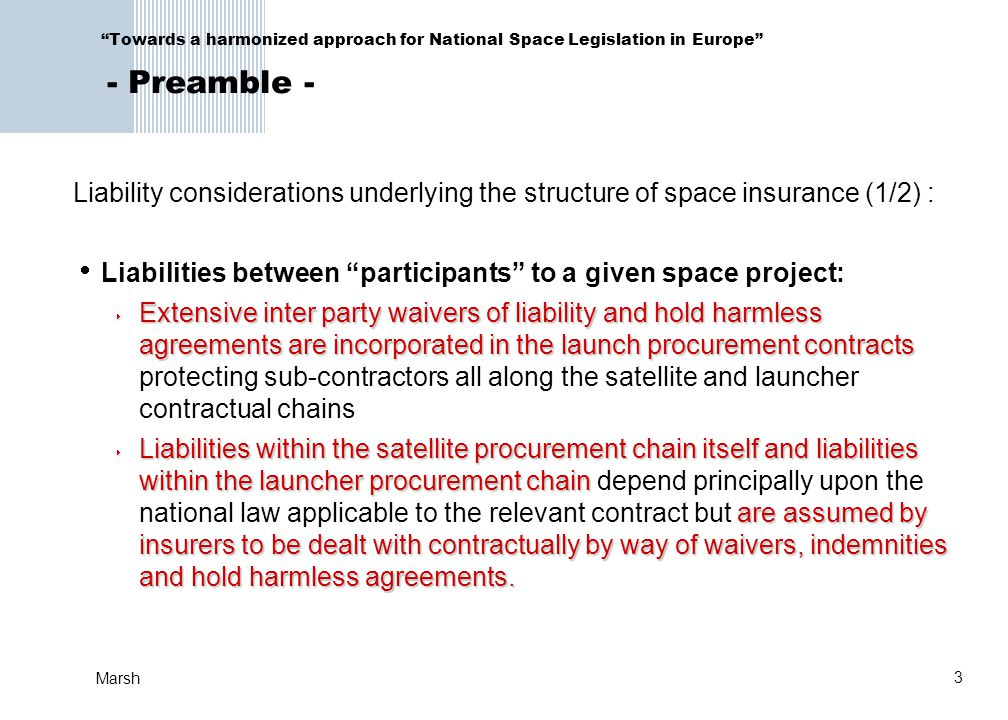 Liabilities between participants to a given space project: