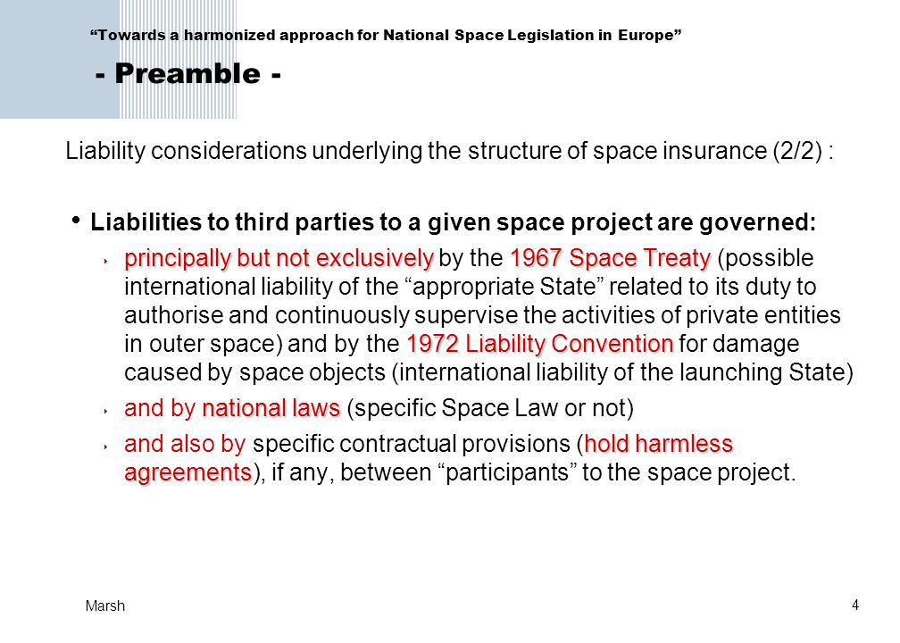 Liabilities to third parties to a given space project are governed: