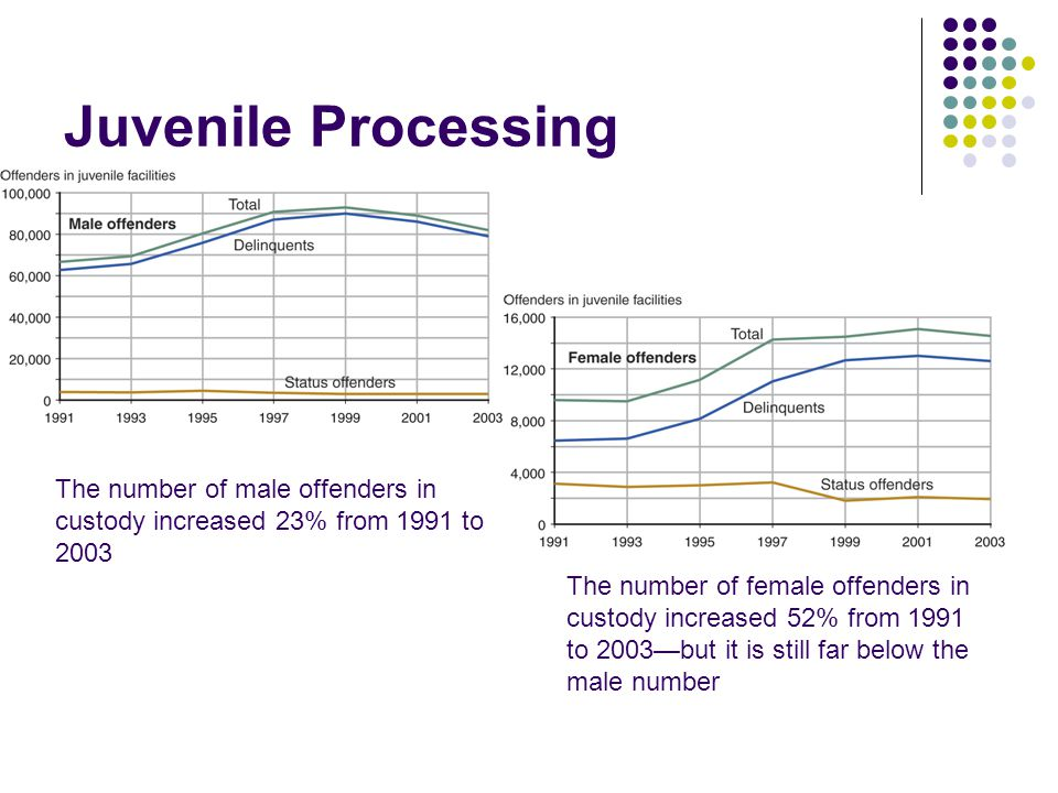 Juvenile Processing The number of male offenders in custody increased 23% from 1991 to 2003.
