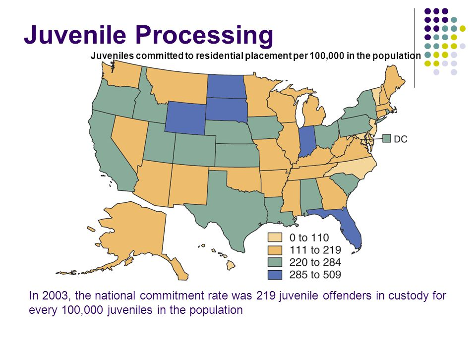 Juvenile Processing Juveniles committed to residential placement per 100,000 in the population.