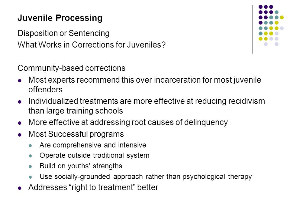 Juvenile Processing Disposition or Sentencing
