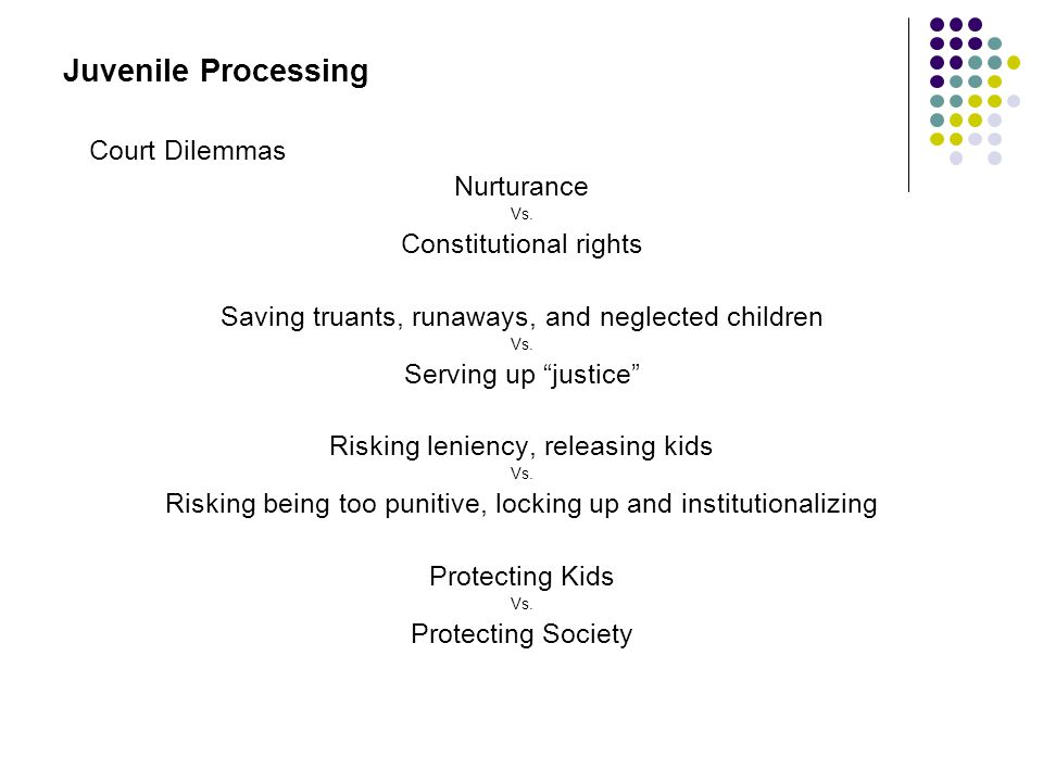 Juvenile Processing Court Dilemmas Nurturance Constitutional rights