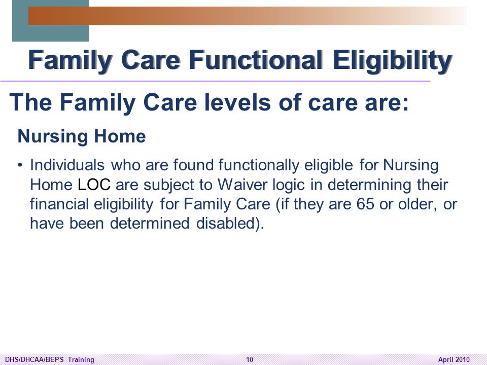 Family Care Functional Eligibility