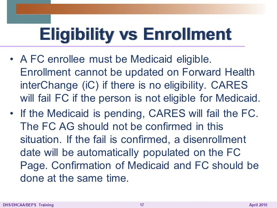 Eligibility vs Enrollment