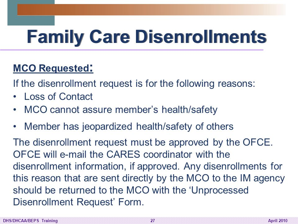 Family Care Disenrollments