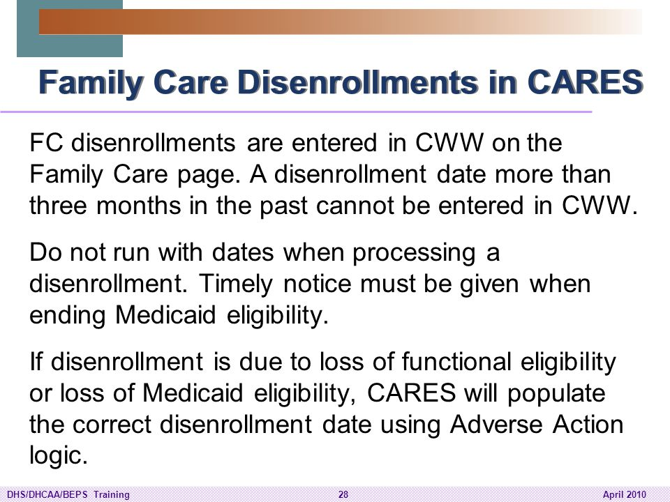 Family Care Disenrollments in CARES