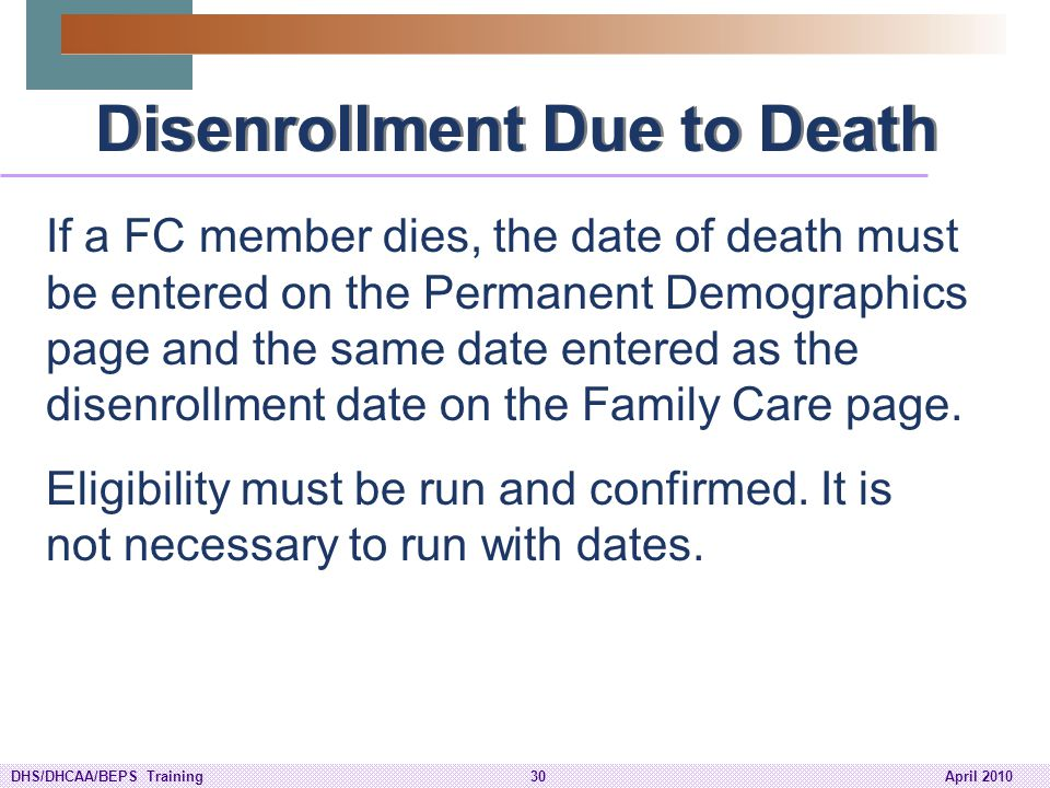 Disenrollment Due to Death