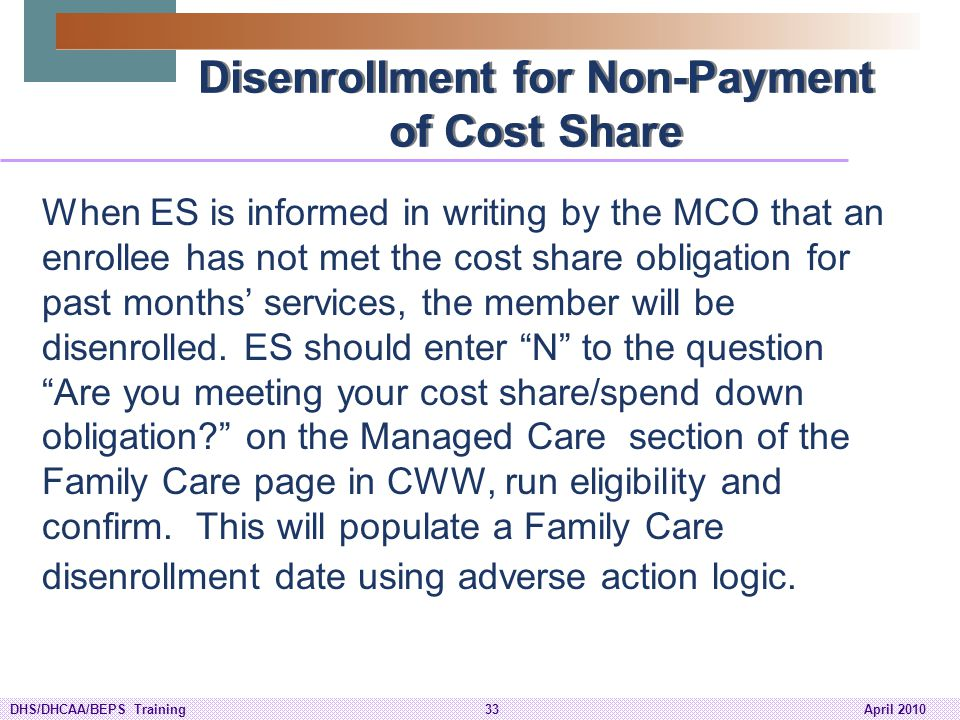 Disenrollment for Non-Payment of Cost Share