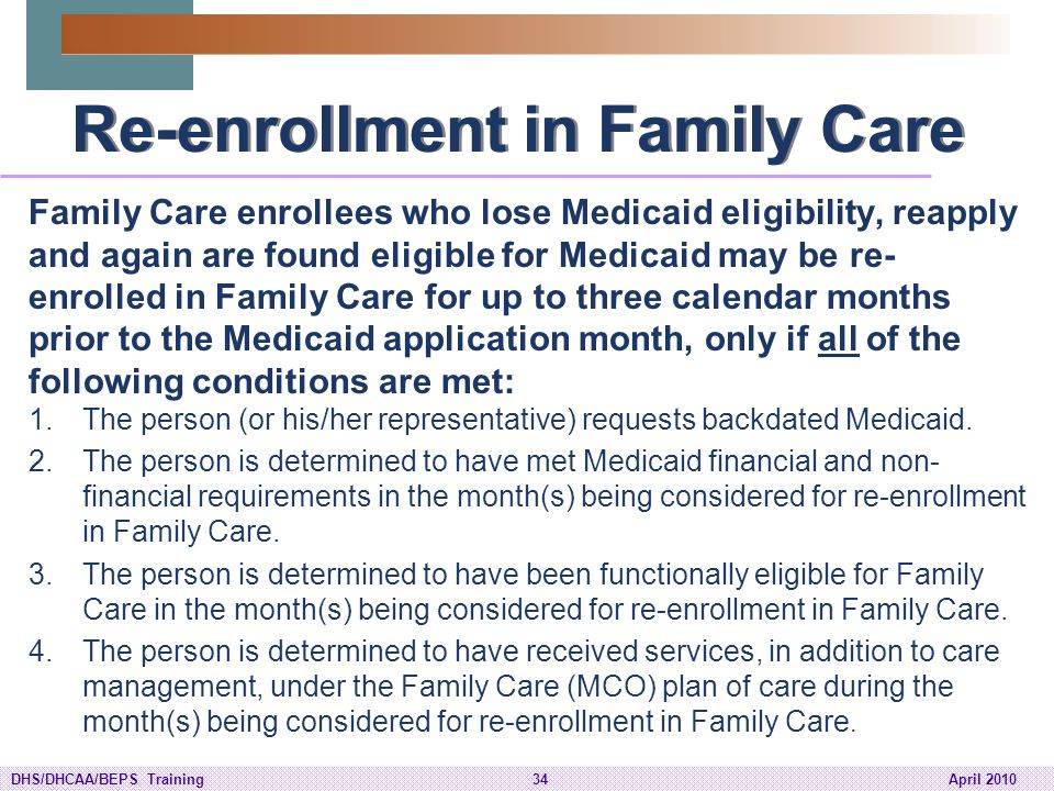 Re-enrollment in Family Care