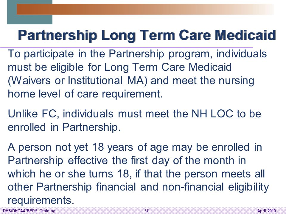 Partnership Long Term Care Medicaid
