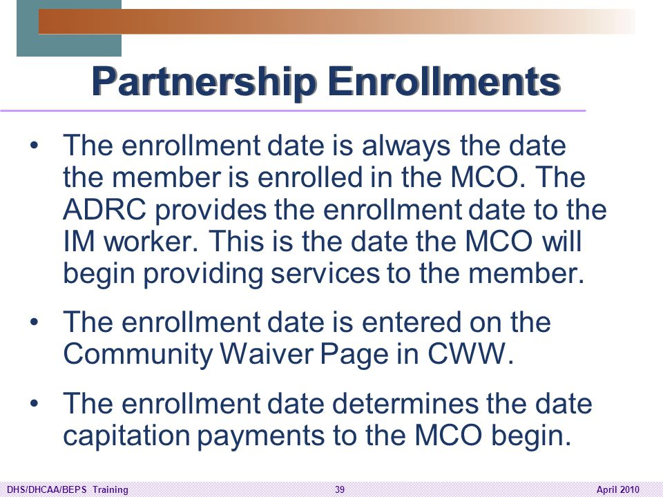 Partnership Enrollments
