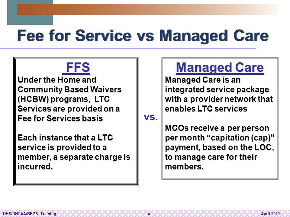 Fee for Service vs Managed Care