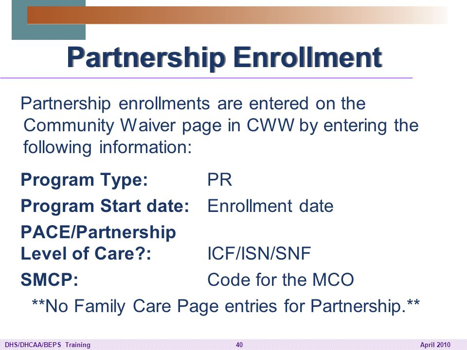 Partnership Enrollment