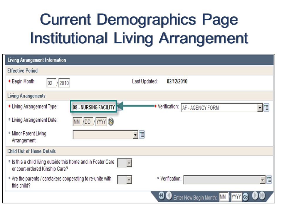 Current Demographics Page Institutional Living Arrangement