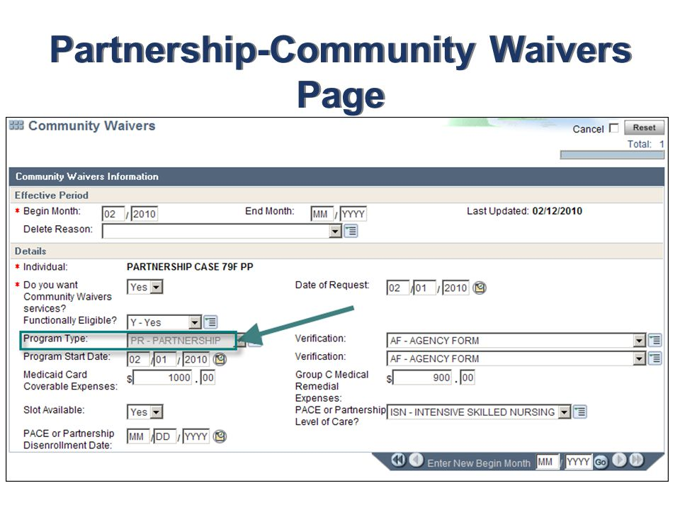 Partnership-Community Waivers Page